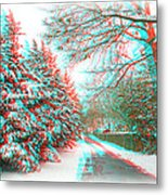 Snowy Lane - Use Red/cyan Filtered 3d Glasses Metal Print
