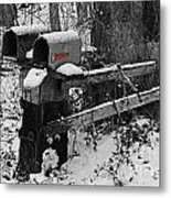 Snowy Mailbox Sc Metal Print
