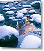 Snowy Merced River With Reflection Metal Print