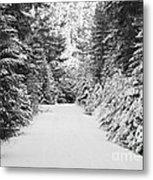 Snowy Mountain Road - Black And White Metal Print