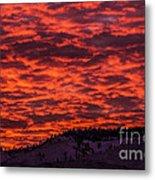 Snowy Mountain Sunset Metal Print