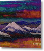 Snowy Mountains On A Colorful Winter Night Metal Print