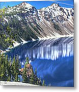 Snowy Mountains Reflected In Crater Lake Metal Print