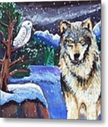 Snowy Night Wolf Metal Print