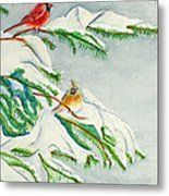 Snowy Pines And Cardinals Metal Print