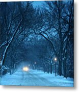Snowy Road On A Winter Evening Metal Print