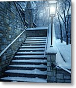Snowy Stairway Metal Print