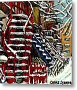 Snowy Steps The Red Staircase In Winter In Verdun Montreal Paintings City Scene Art Carole Spandau Metal Print