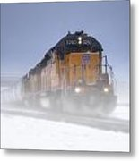 Snowy Train Metal Print