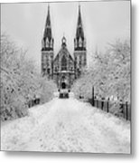Snowy Villanova In Black And White Metal Print