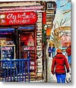 Snowy Walk By The Tea Room And Pastry Shop Winter Street Montreal Art Carole Spandau  Metal Print