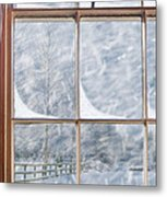 Snowy Window Metal Print