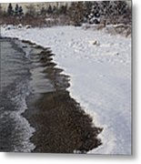 Snowy Winter Beach Patterns - Lake Ontario Toronto Canada Metal Print