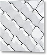 Snowy Wire Netting Metal Print