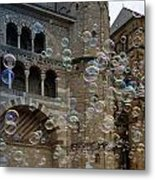 Soap-bubbles In Front Of An Ancient Cathedral Metal Print