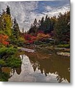 Soaring Autumn Colors In The Japanese Garden Metal Print