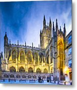 Soaring Perpendicular Gothic Architecture Of Bath Abbey Metal Print
