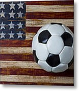 Soccer Ball And Stars And Stripes Metal Print