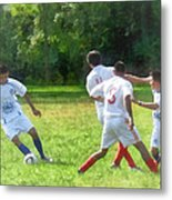 Soccer Ball In Play Metal Print