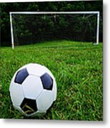Soccer Ball On Field Metal Print