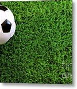 Soccer Ball On Green Grass Metal Print