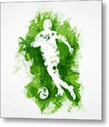 Soccer Player Metal Print by Aged Pixel