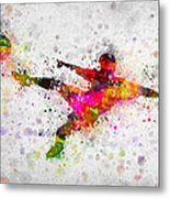 Soccer Player - Flying Kick Metal Print