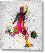 Soccer Player - Kicking Ball Metal Print