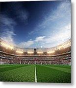 Soccer Stadium Blu Sky And Lights Metal Print