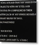 Socrates Quote In Negative Metal Print