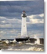 Sodus Outer Lighthouse On Stormy Lake Metal Print