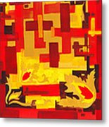 Soft Geometrics Abstract In Red And Yellow Impression I Metal Print