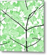 Soft Green Leaves Melody Metal Print