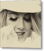 Soft Vintage Woman Metal Print by Lesley Rigg