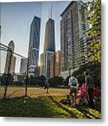 Softball By Skyscrapers Metal Print
