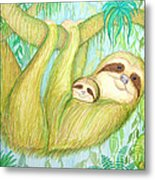Soggy Mossy Sloth Metal Print
