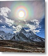 Solar Corona Above The Ama Dablam Metal Print