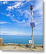 Solar-powered Light In Halls Harbour In Nova Scotia-canada Metal Print