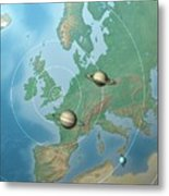 Solar System Compared To Europe Metal Print