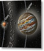 Solar System Orbits, Illustration Metal Print