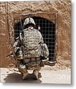 Soldier Searches A Compound Metal Print by Stocktrek Images