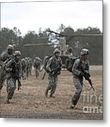 Soldiers Exit A Ch-47 Chinook Metal Print