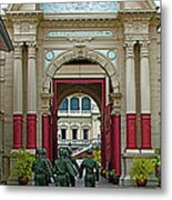 Soldiers In The Outer Court Of Grand Palace Of Thailand In Bangkok Metal Print