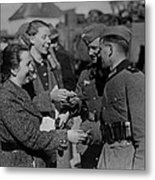 Soldiers Receive Gifts From Austrian Metal Print