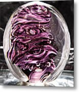Solid Glass Sculpture Rp5 - Purple And White Metal Print