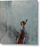 Solo Celloist Metal Print