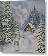 Somewhere In The Snowy Forest Metal Print