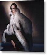 Sondra Peterson Wearing Fur Coat Metal Print