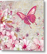 Sophisticated Elegant Whimsical Pink Butterfly Floral Flower Art Springs Joy By Megan Duncanson Metal Print by Megan Duncanson