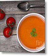 Soup On Wood Table Metal Print by Jane Rix